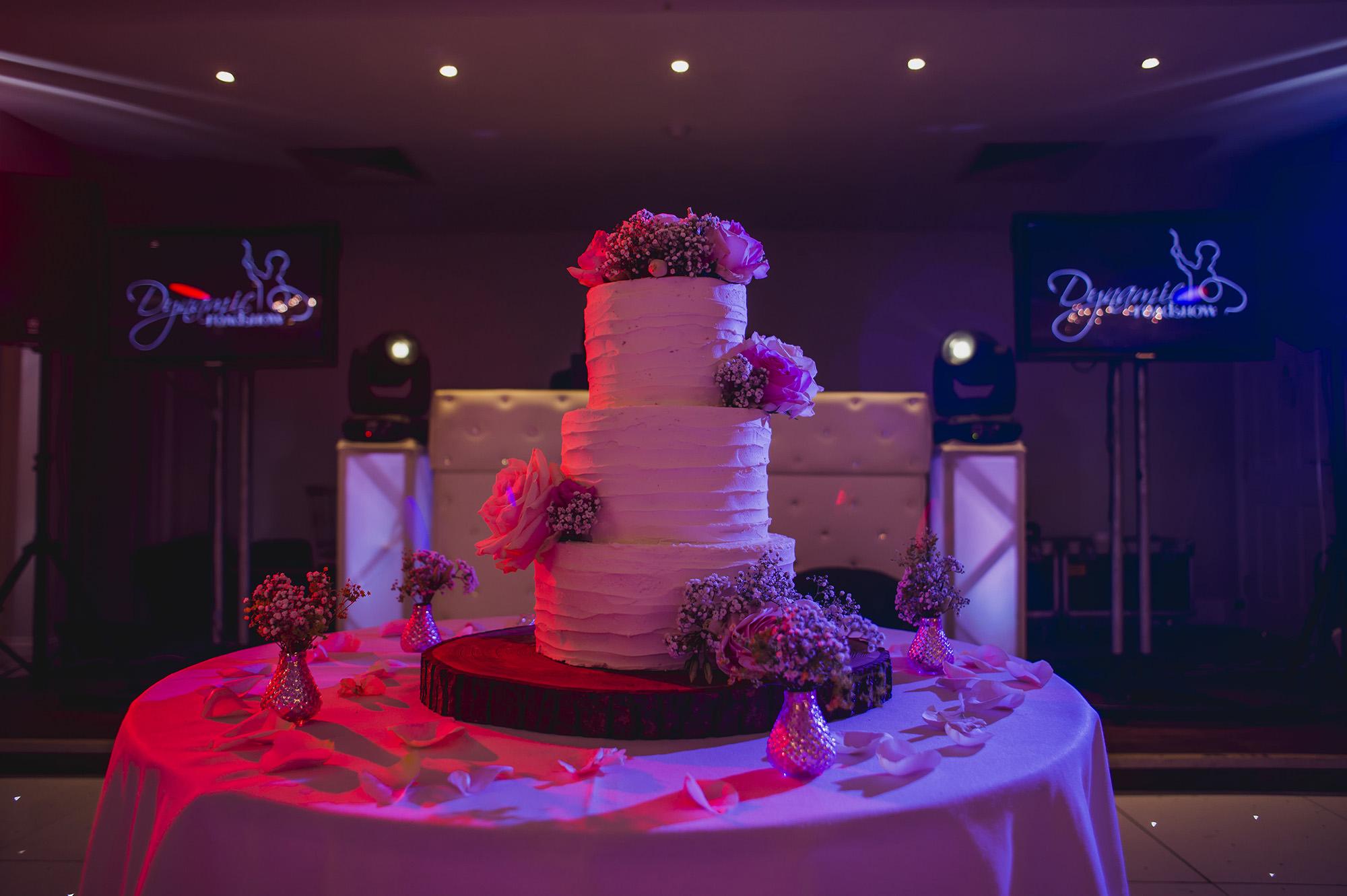 asian wedding reception wedding cake at froyle park
