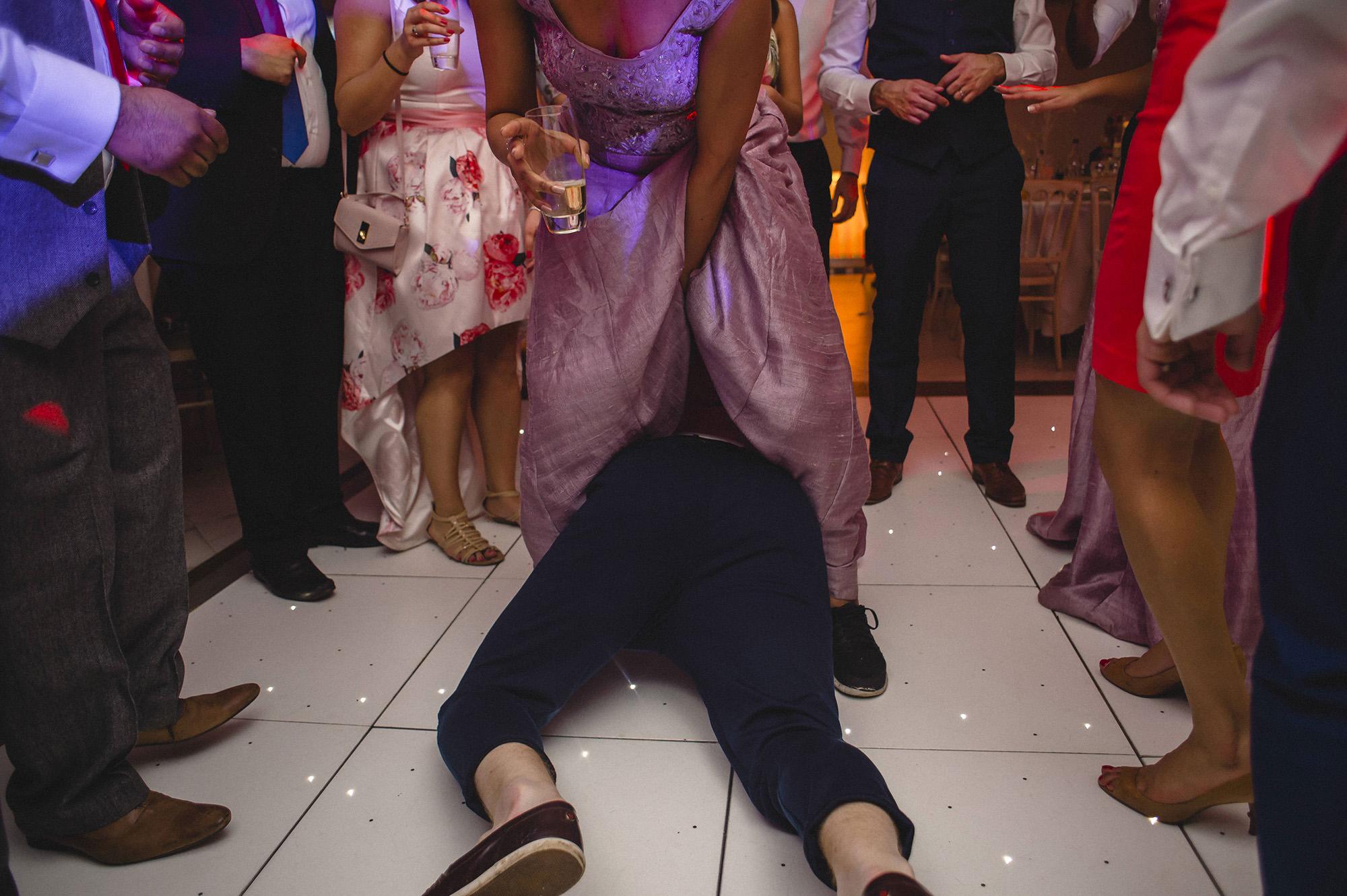 party antics at the wedding reception