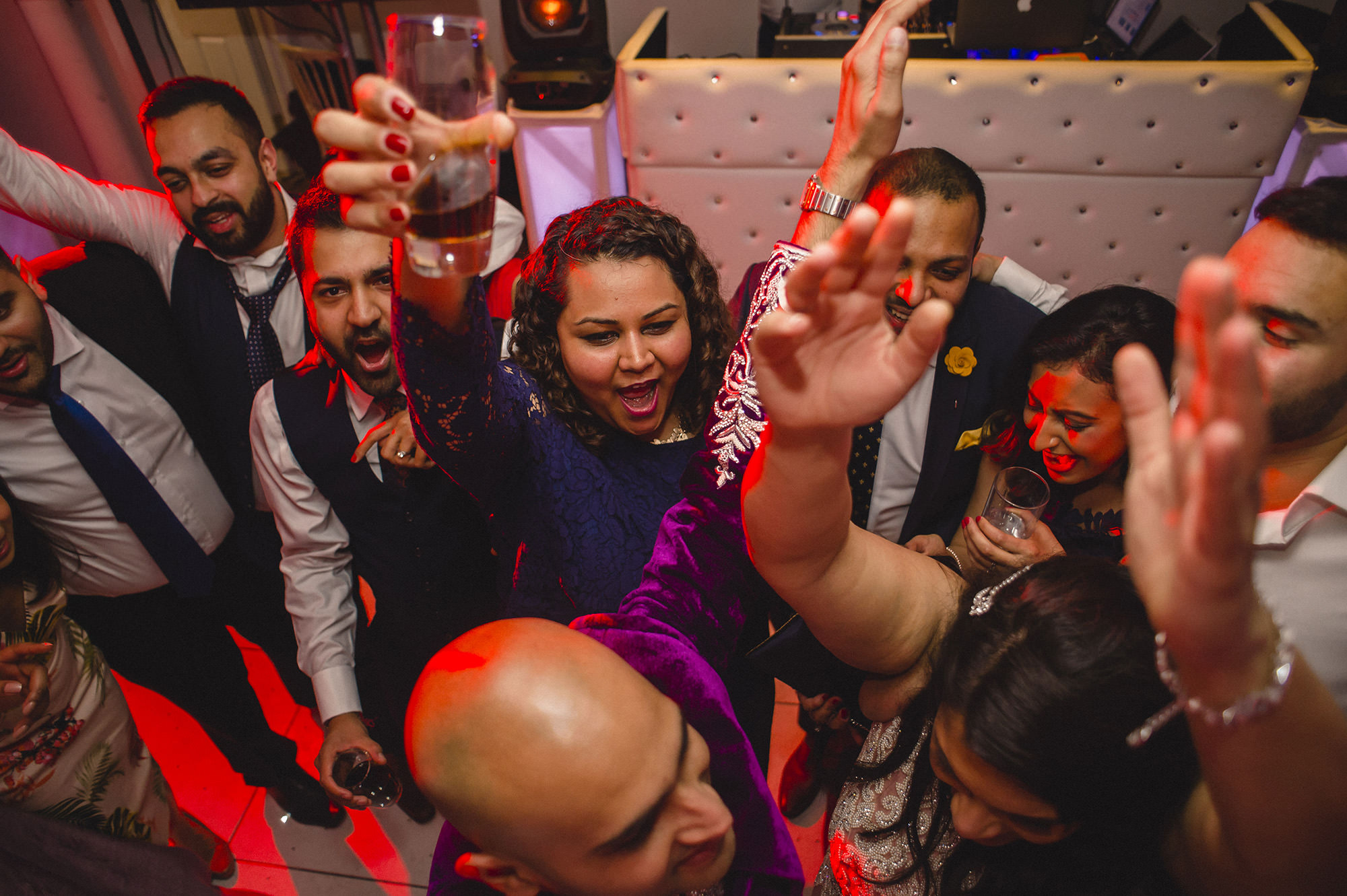 partying guests at wedding reception