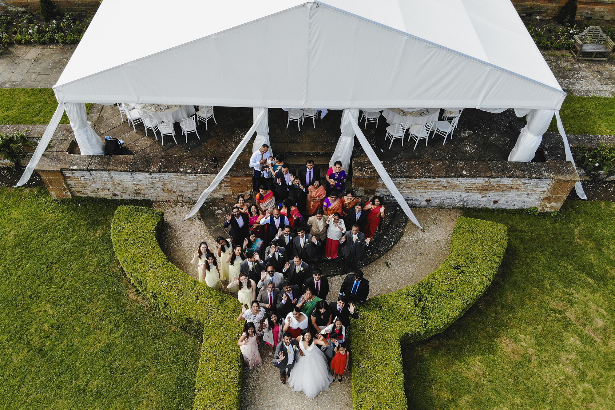 drone shot of the family at the civil wedding