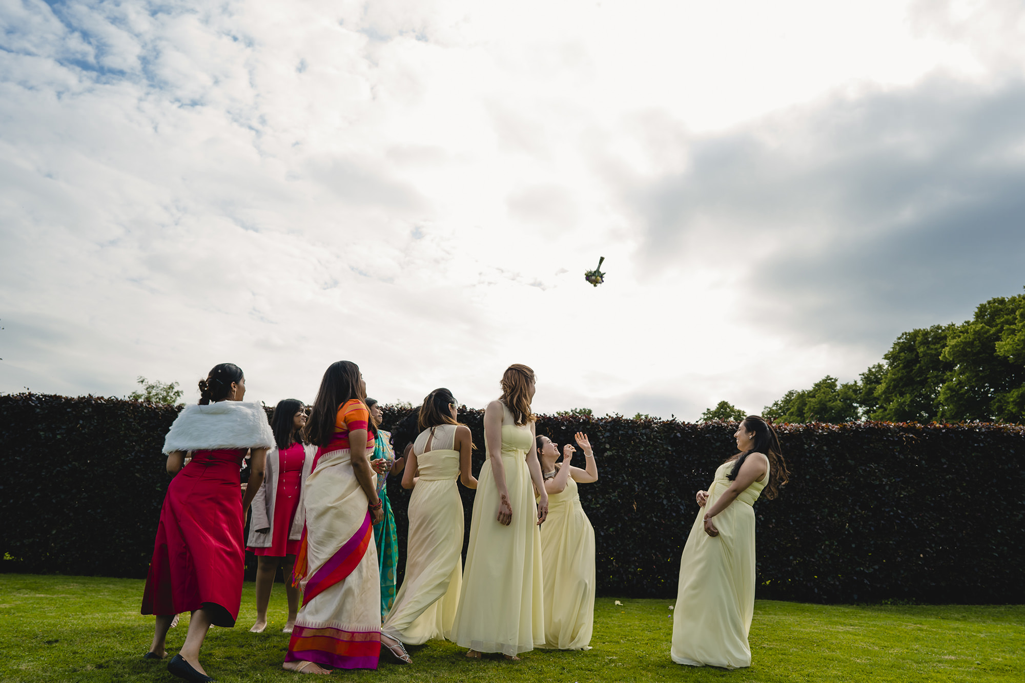 bouquet throw at the end of the wedding at poundon house