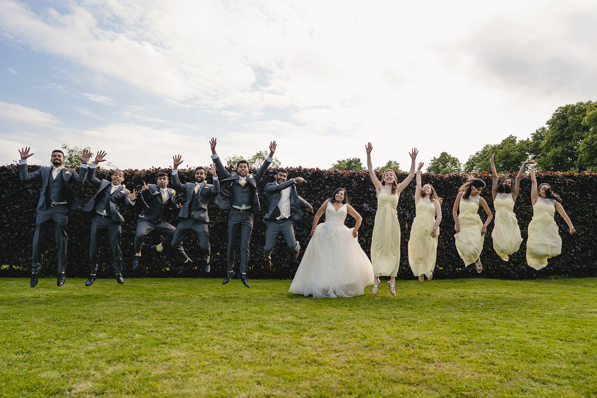 wedding party fun portrait at poundon house