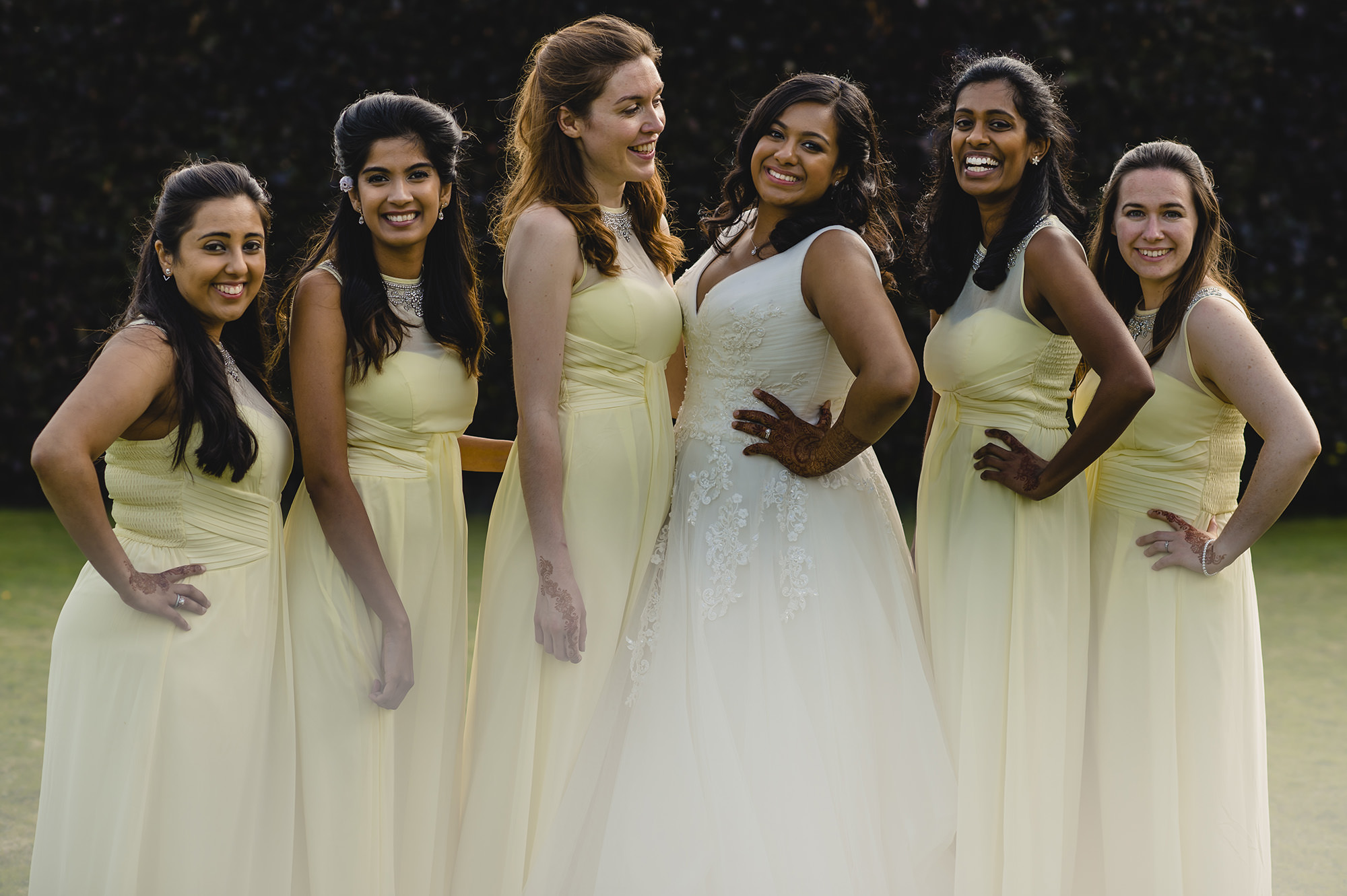 bride with her bridesmaids after the civil wedding at poundon house