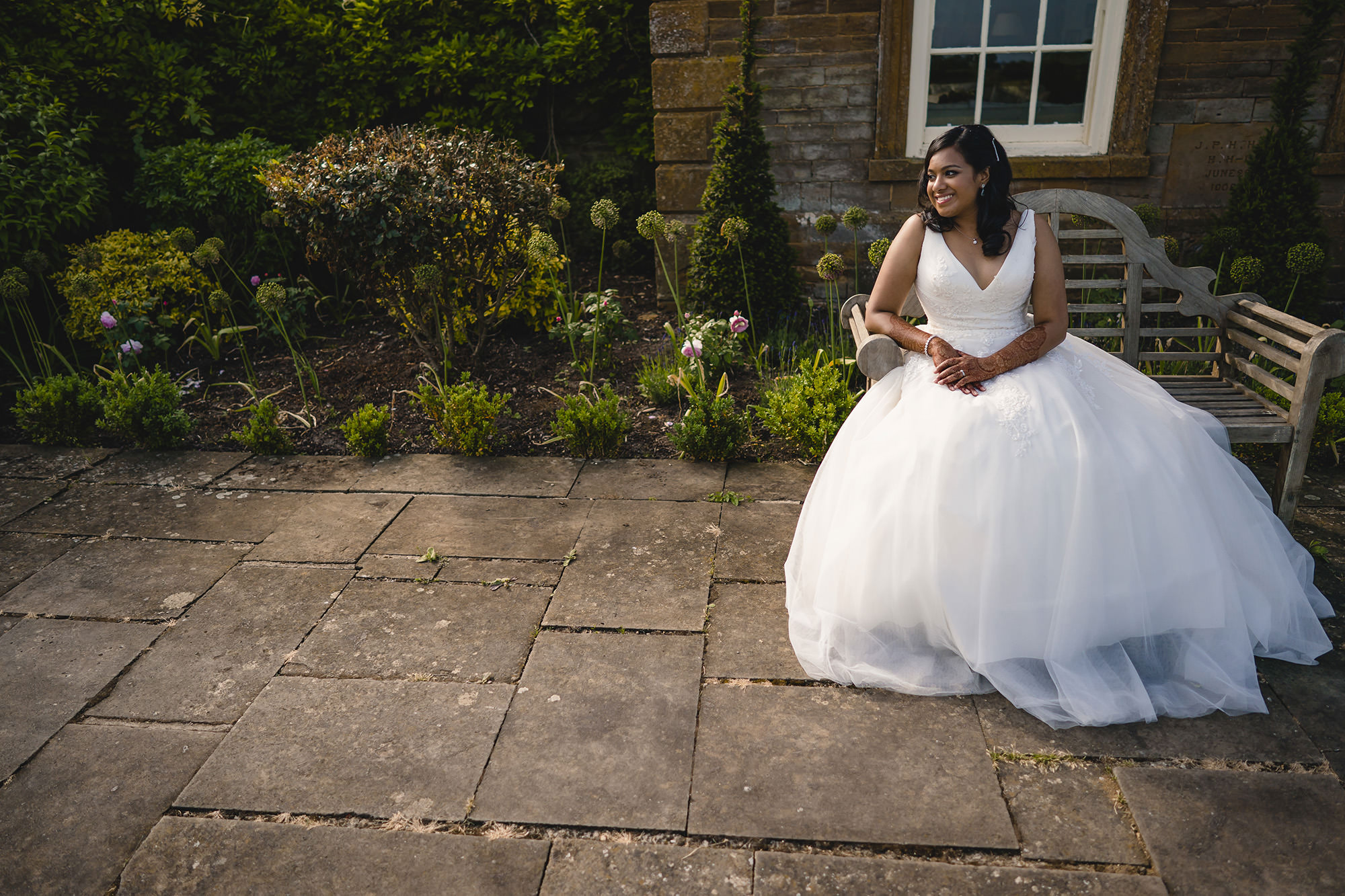bridal portrait in her white dress at poundon house