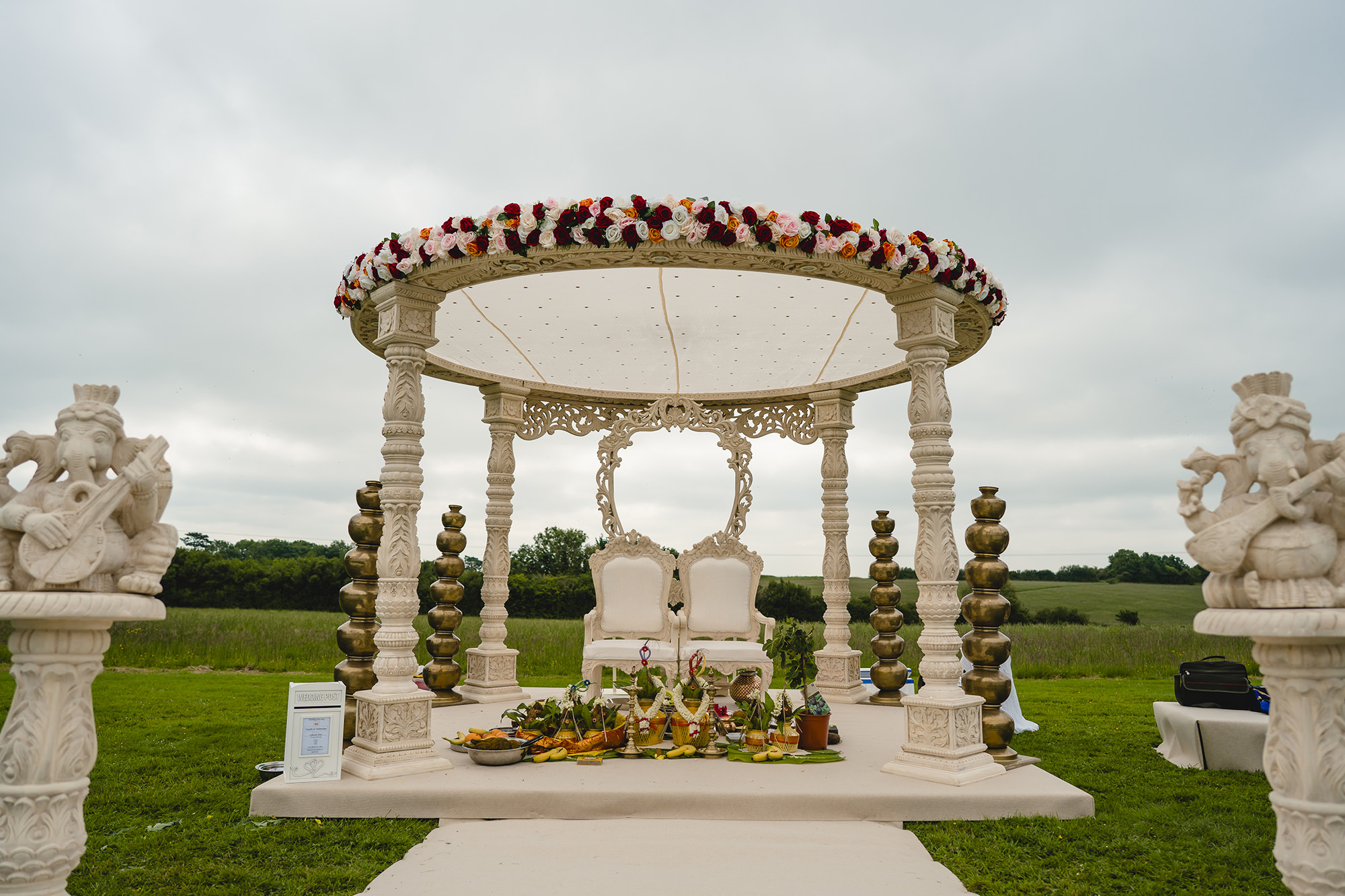 mandap setup outside and poundon house