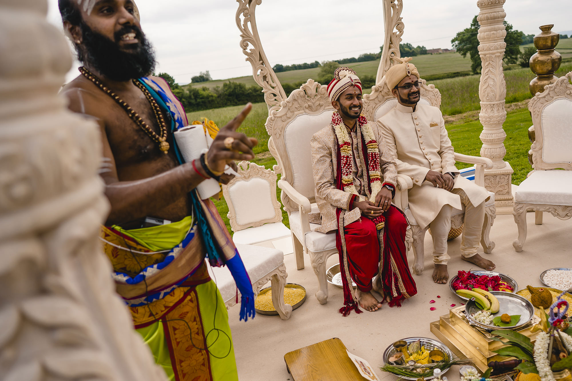 groom and bestman in the mandap at the beginning of the wedding ceremony