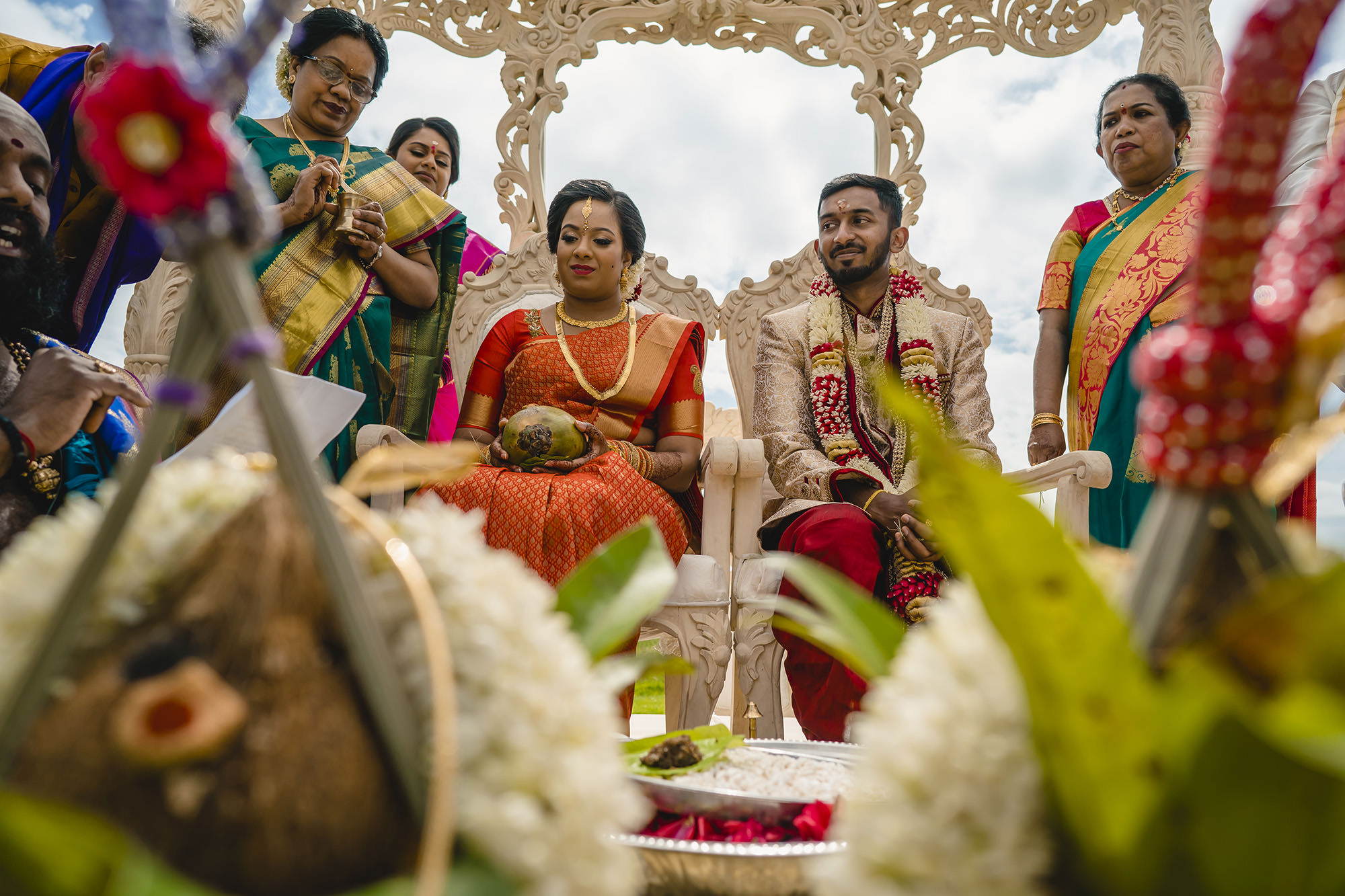 bride and groom during the asian wedding ceremony