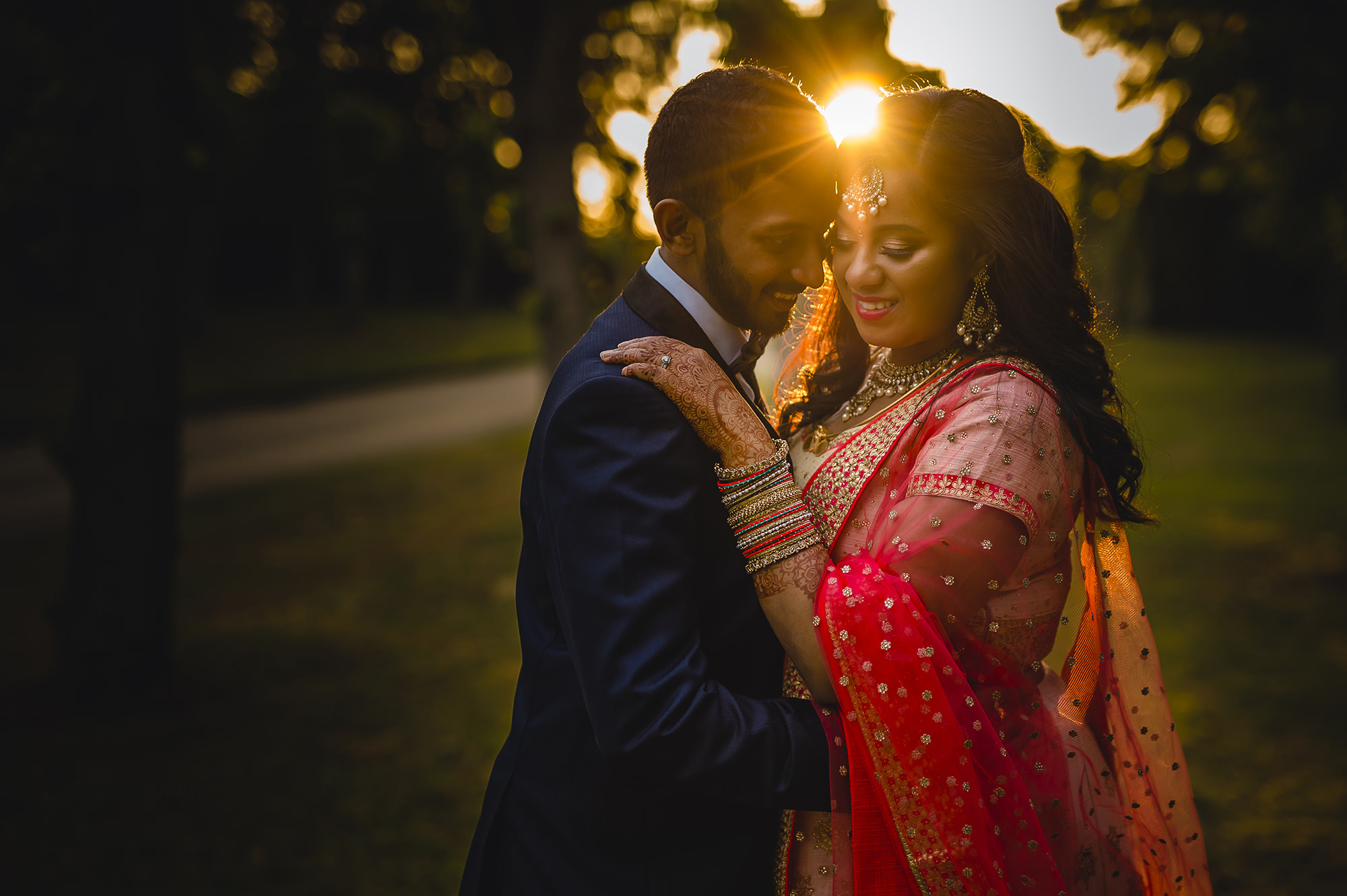 golden hour portrait of the bride and groom at poundon house