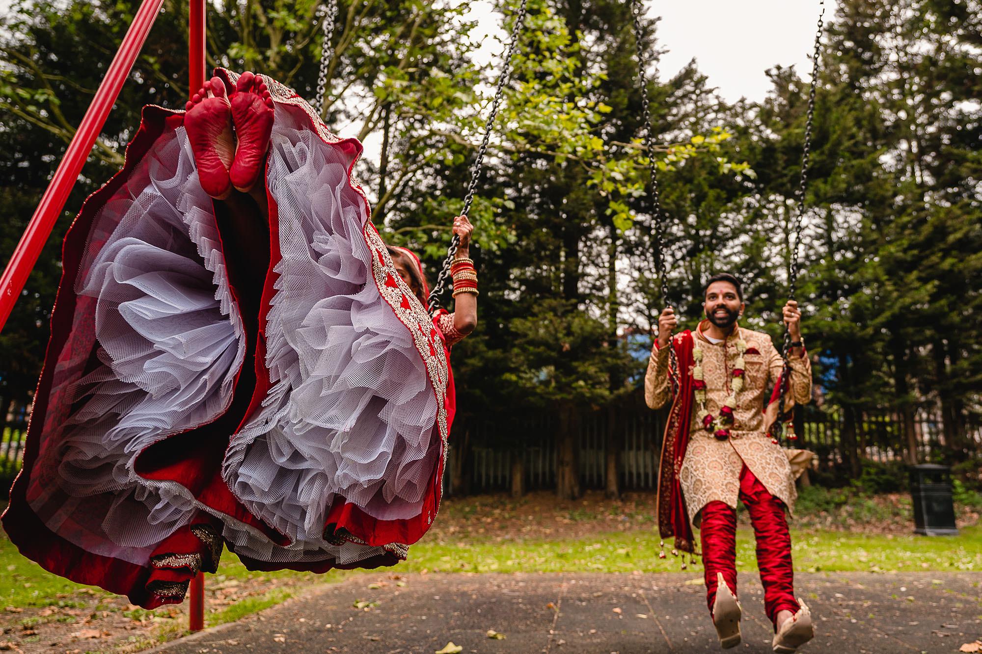 hindu wedding portraits on a swing