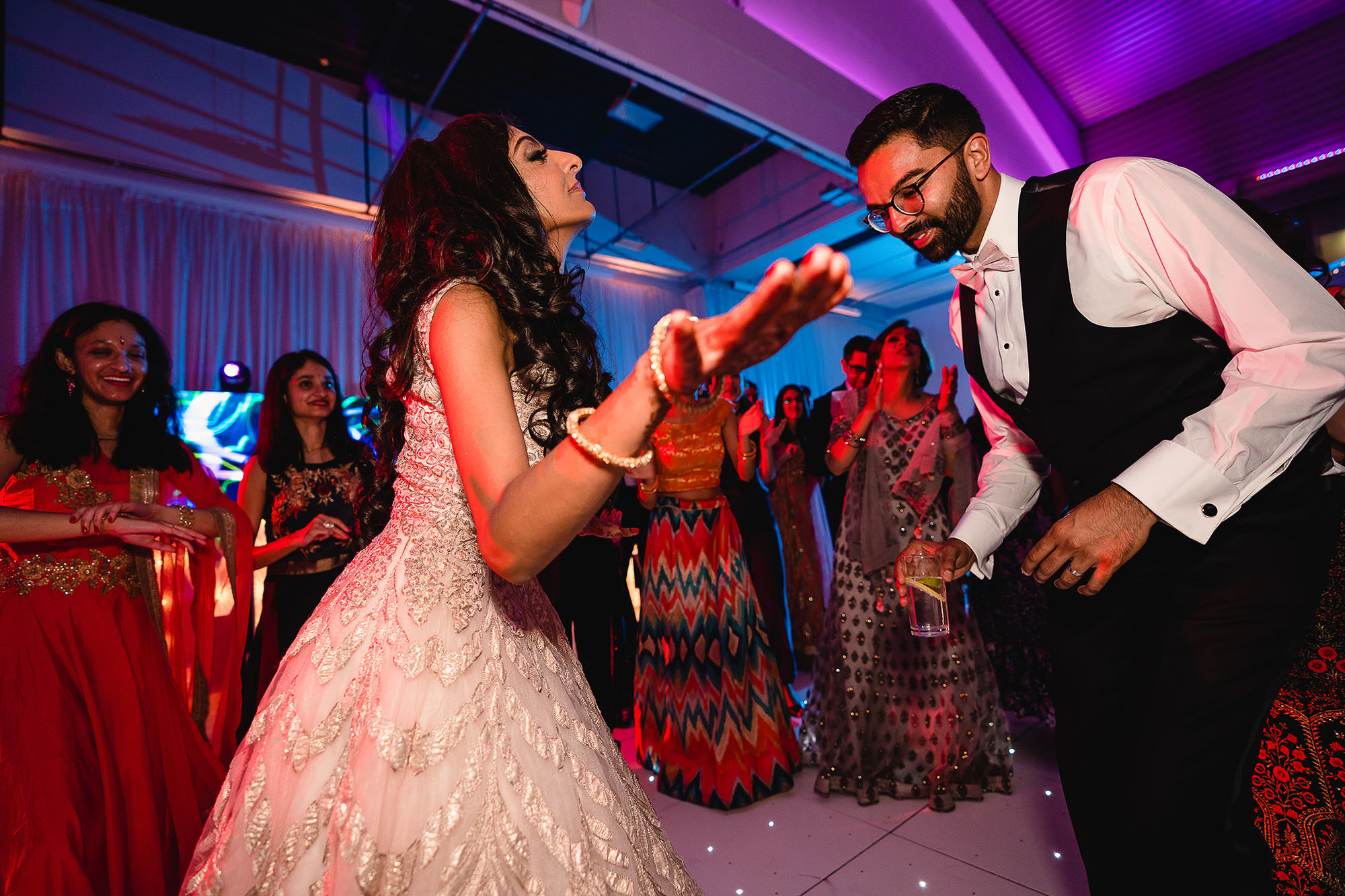 bride and groom dancing on dancefloor