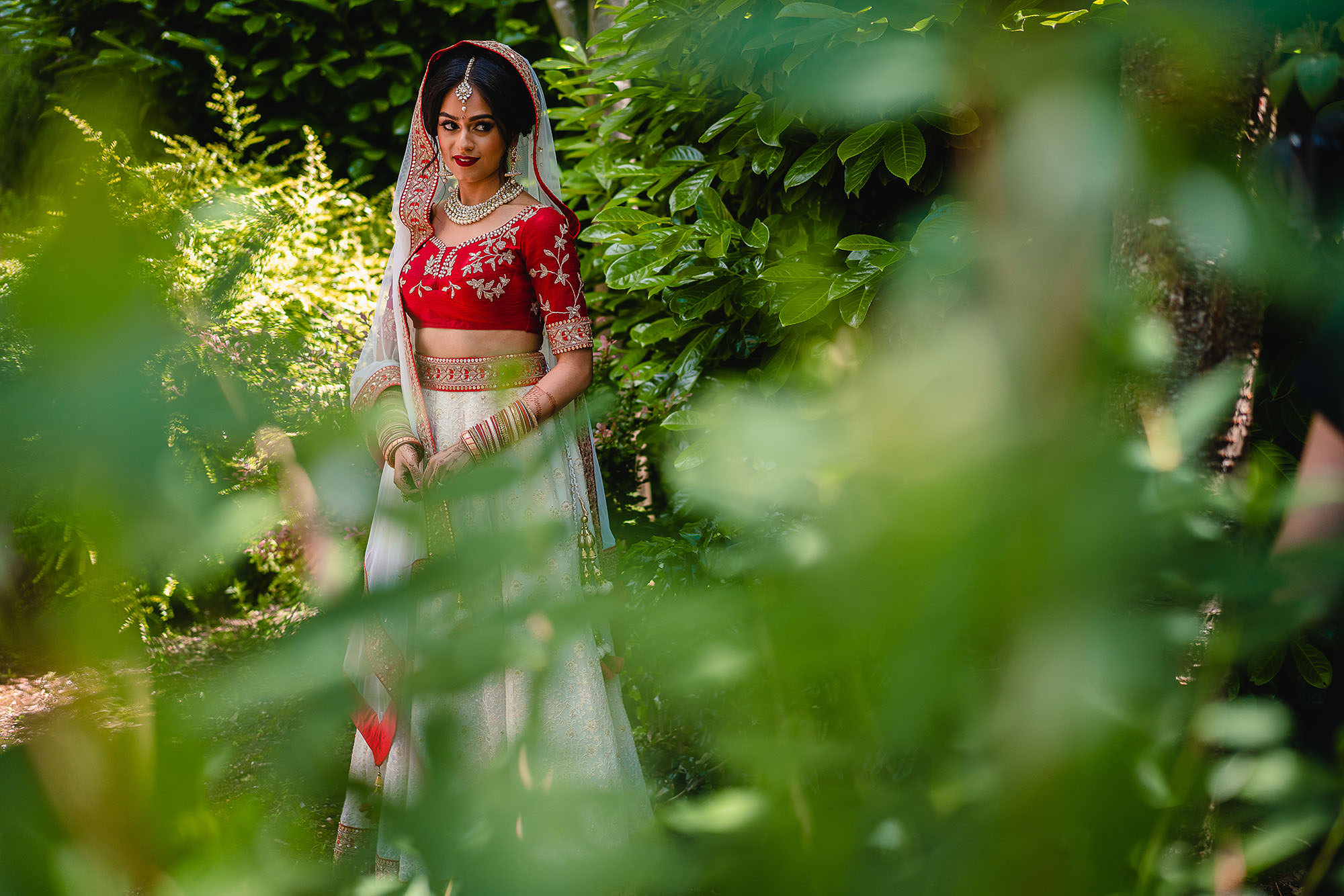 bridal portrait in her indian wedding outfit