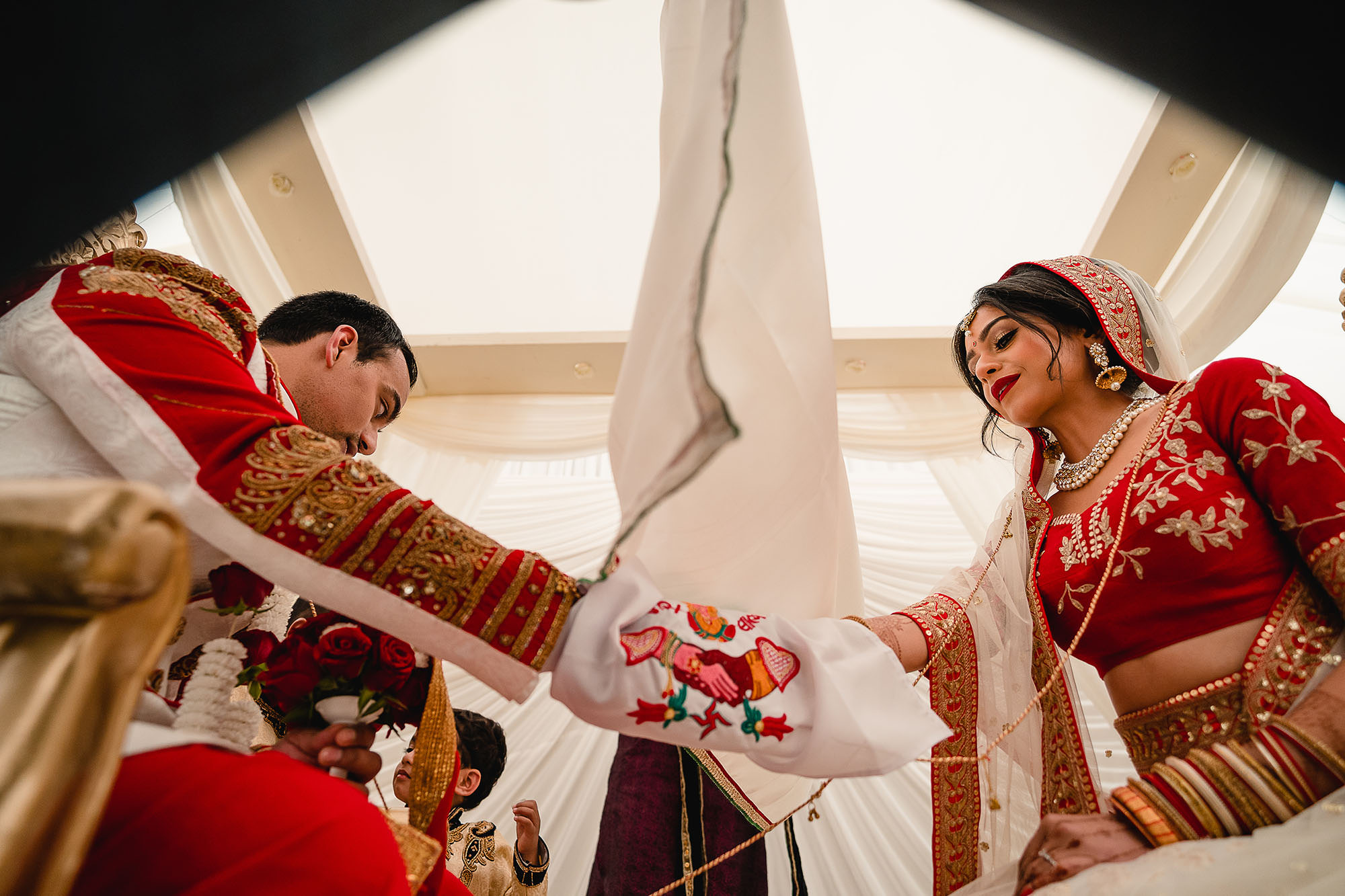bride and groom in the mandap