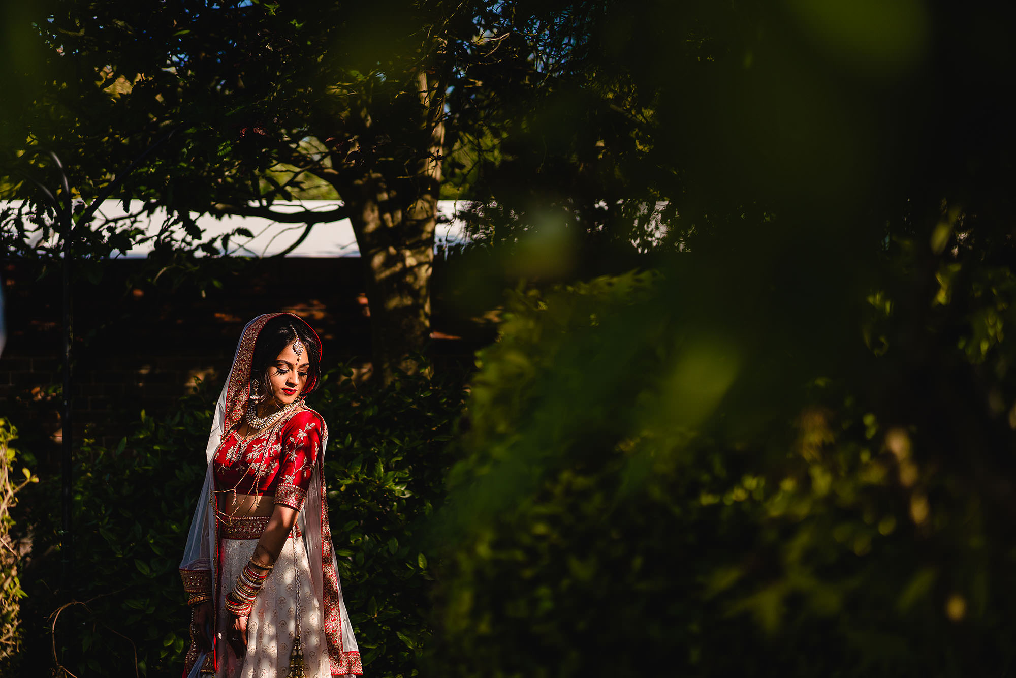 bridal portait in her lengha at dunchurch park