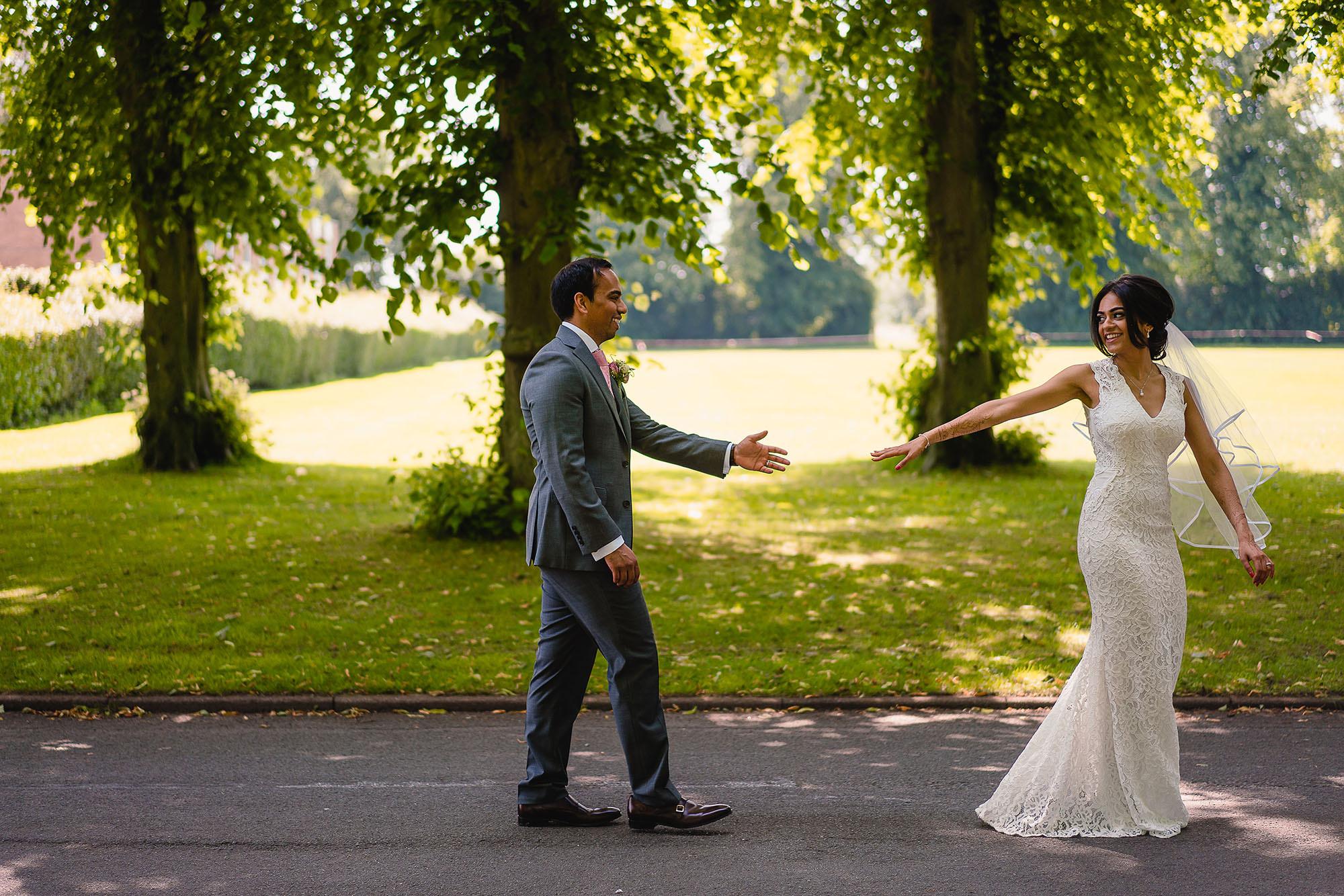 bride leading the groom