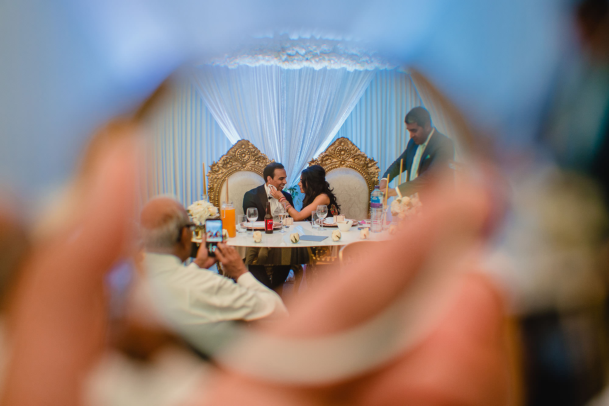 creative bride and groom at their head table