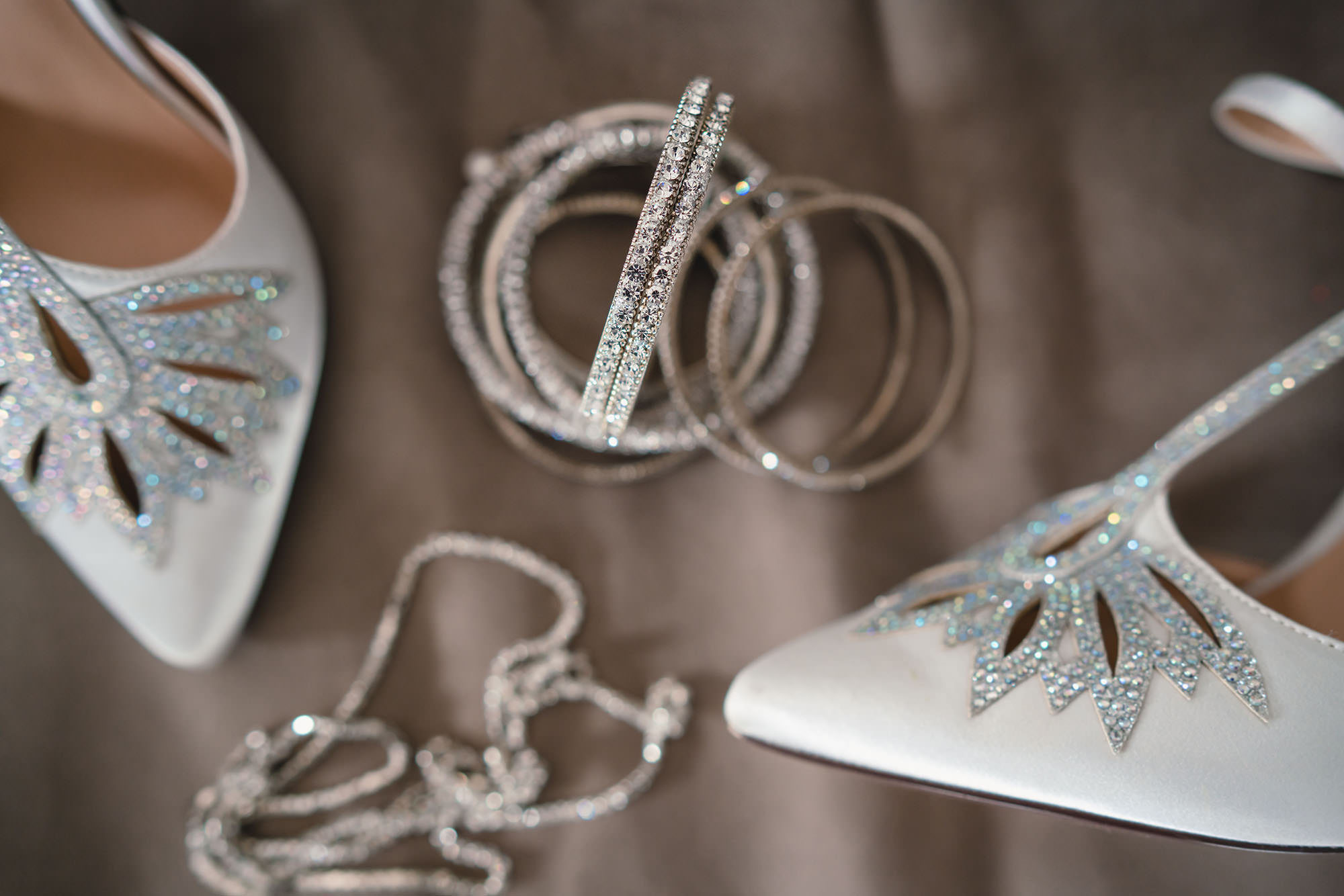 bridal details of jewellery and shoes