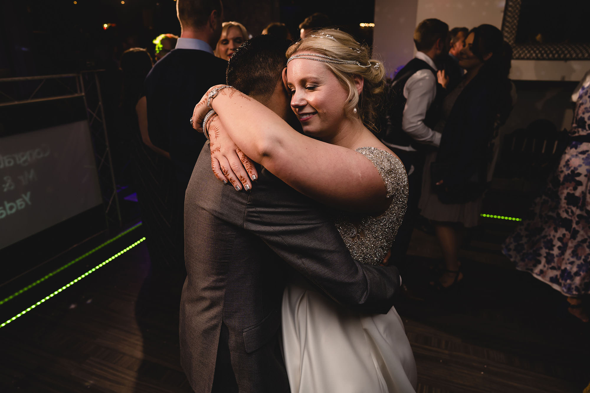 bride and groom dancing at russets wedding venue