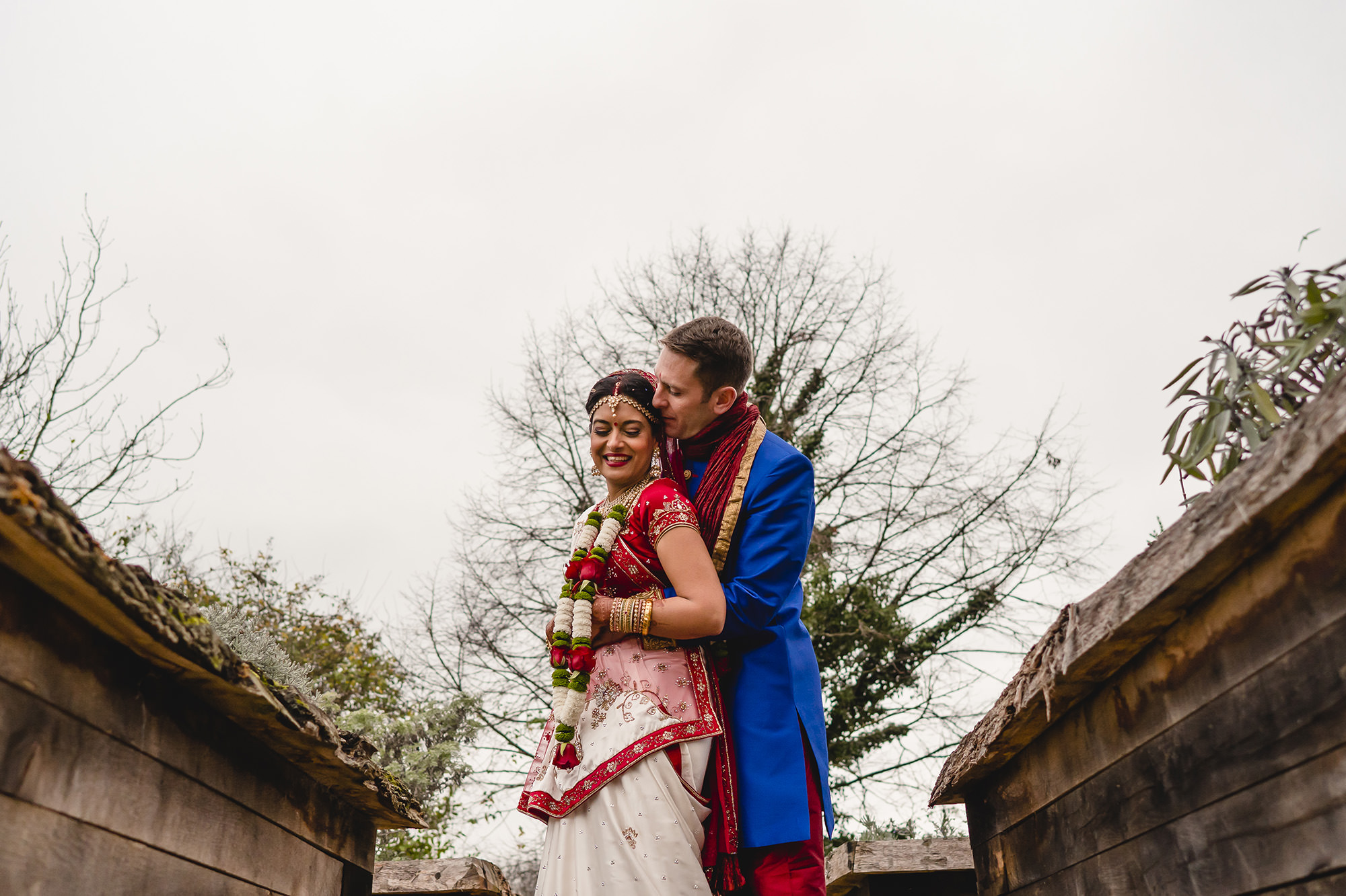 bride and groom wedding portraits asian wedding the great barn