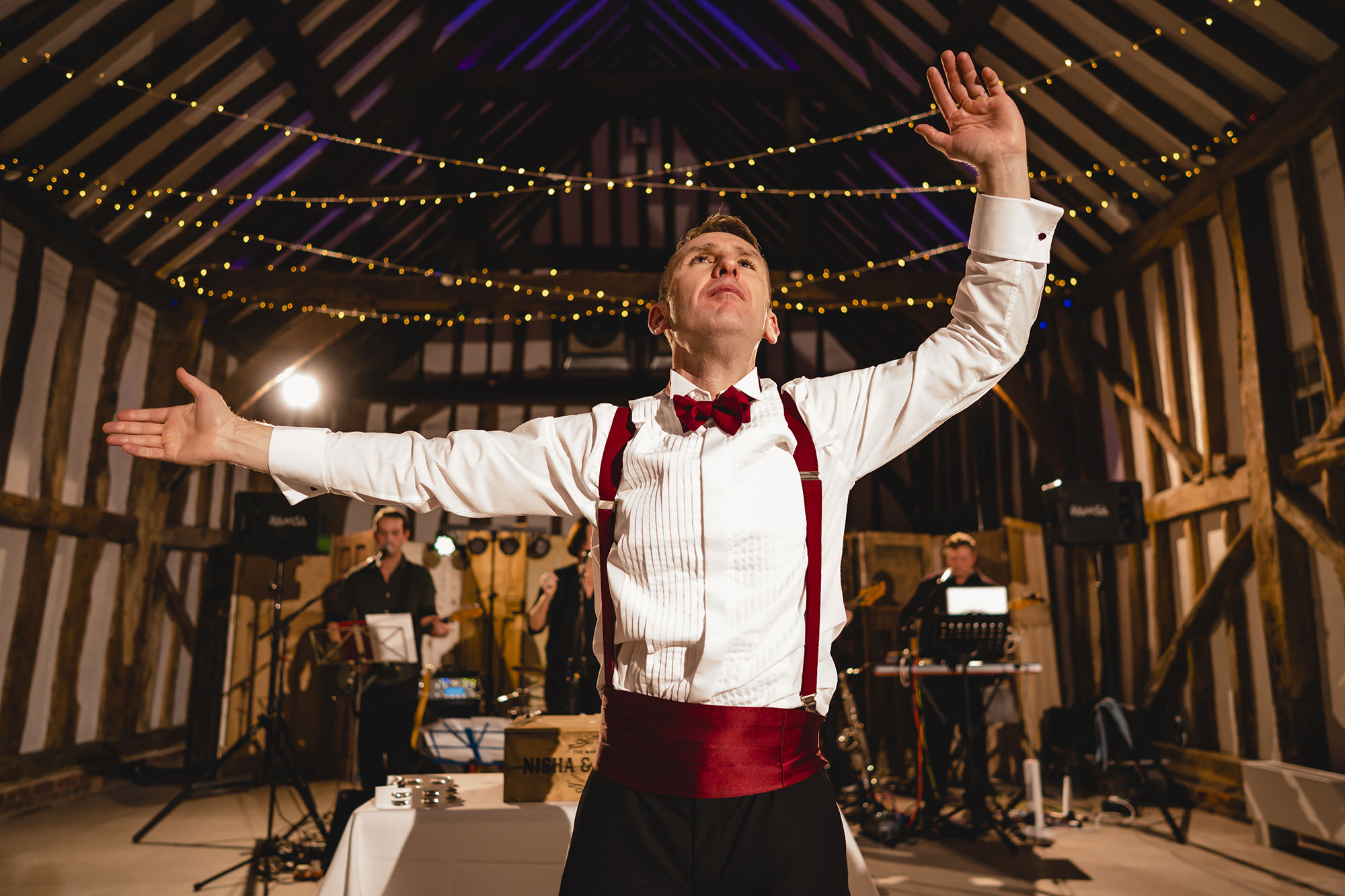 groom dancing at wedding reception the great barn