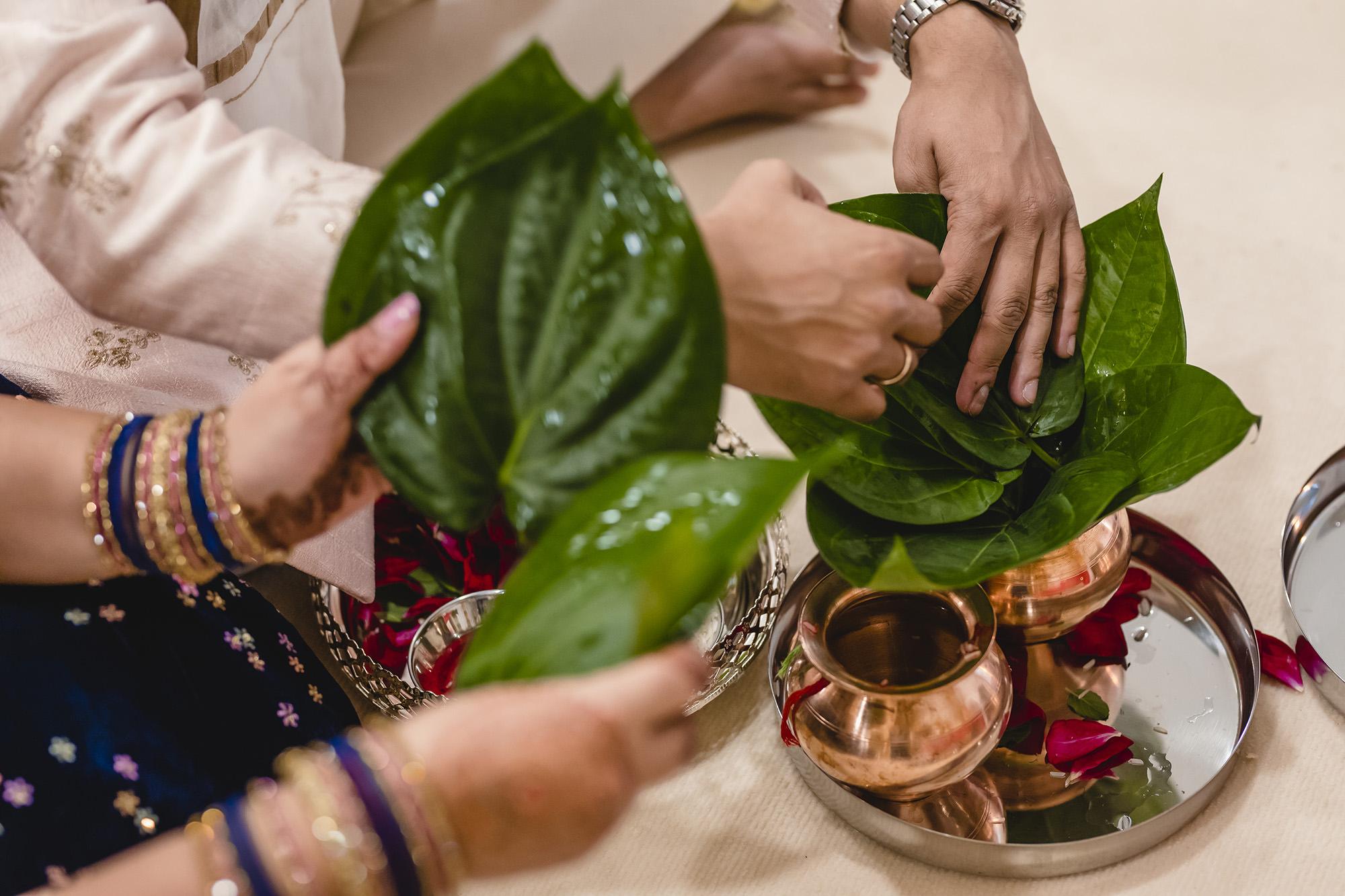 hindu prewedding ceremony in mandap