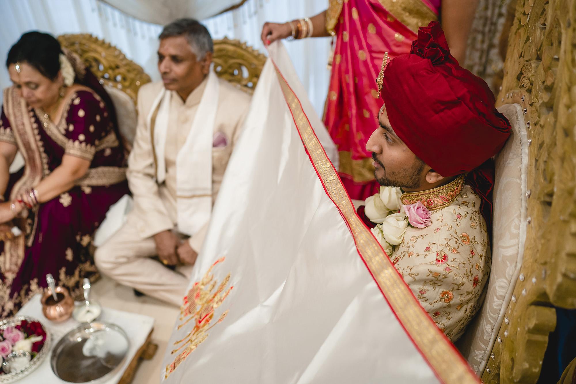 groom waiting for bride in mandap