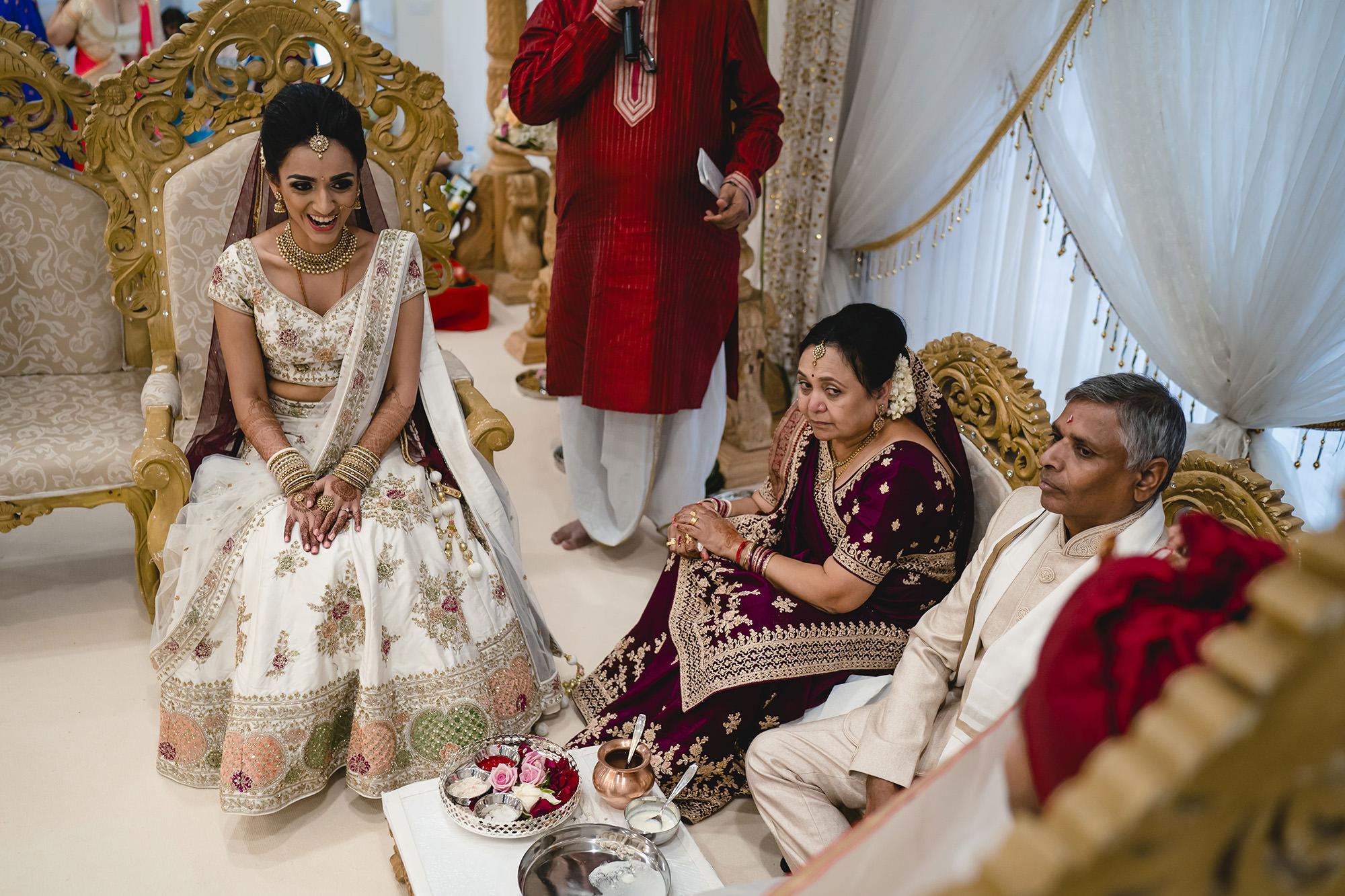 hindu bride and her parents