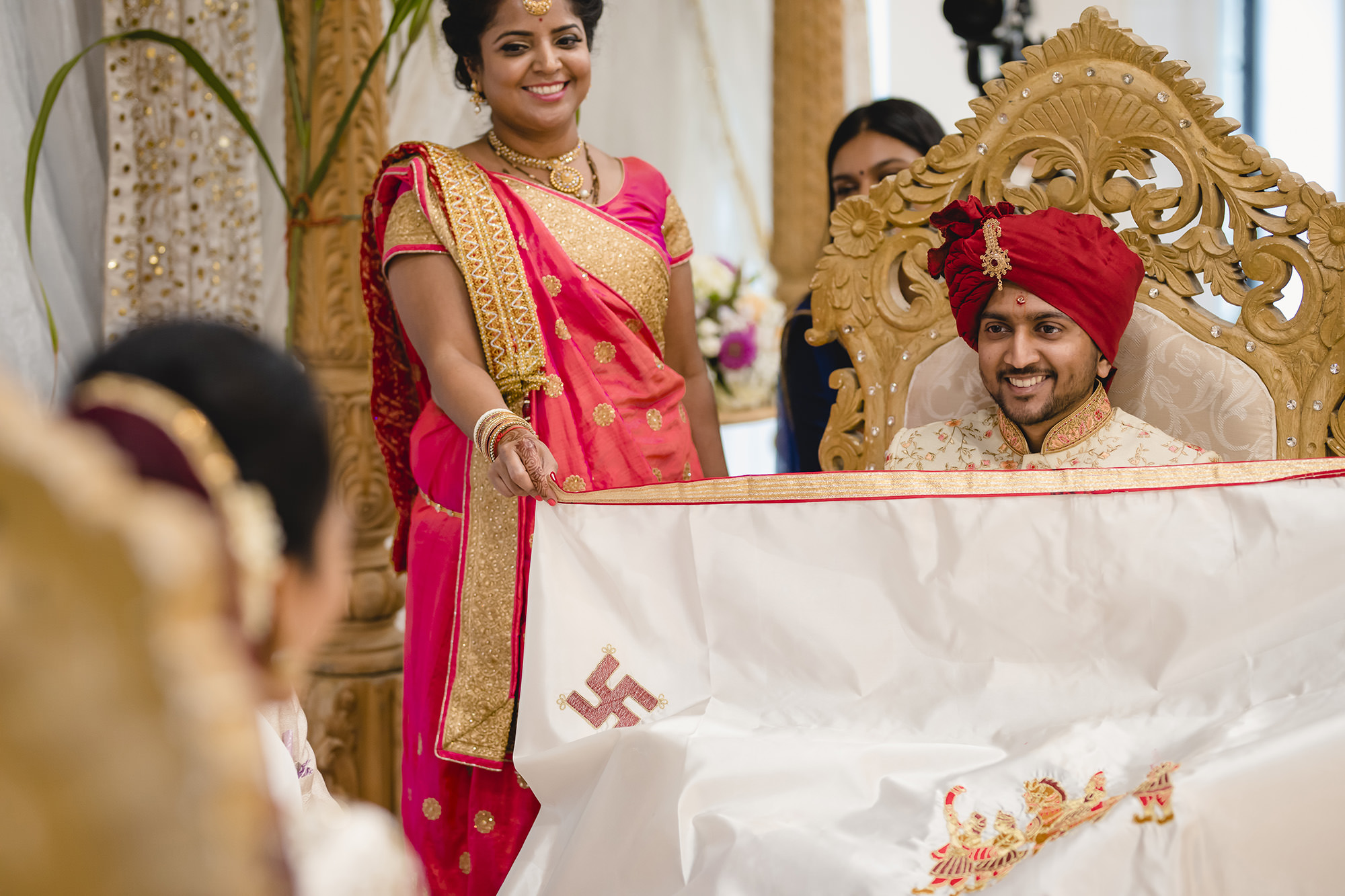 groom seeing hindu bride for first time