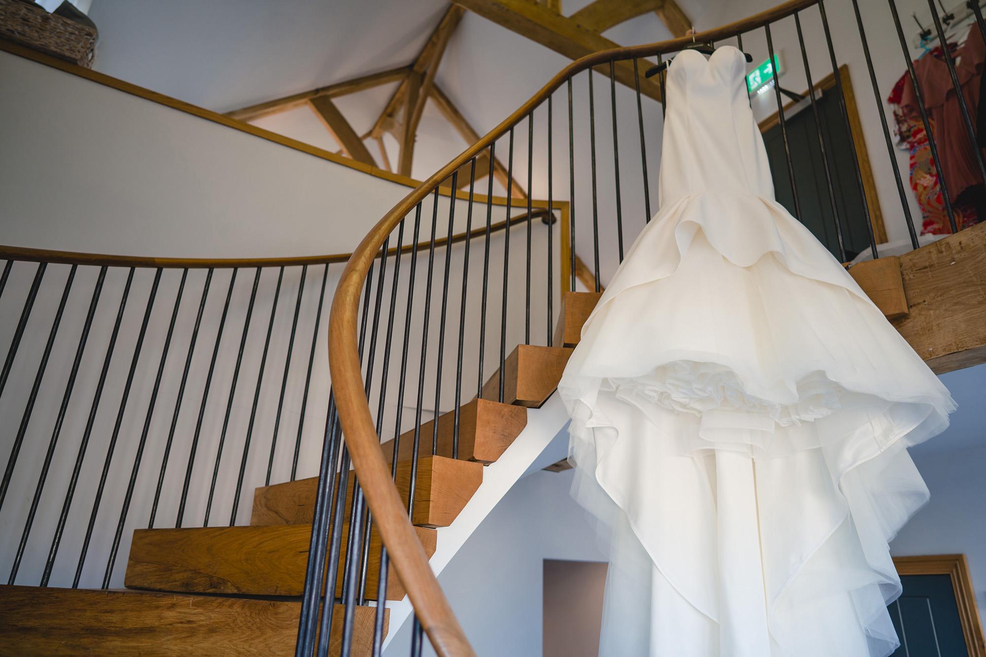 bride dress cooling castle barn