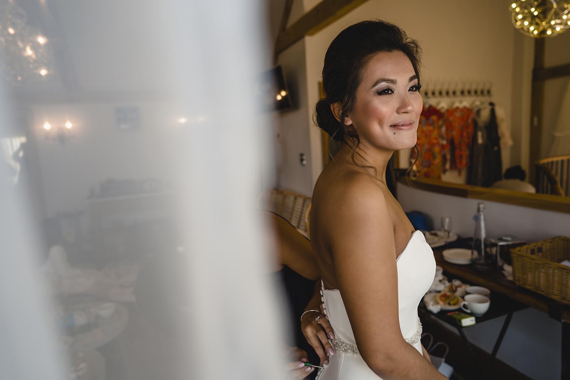 bride getting ready english wedding