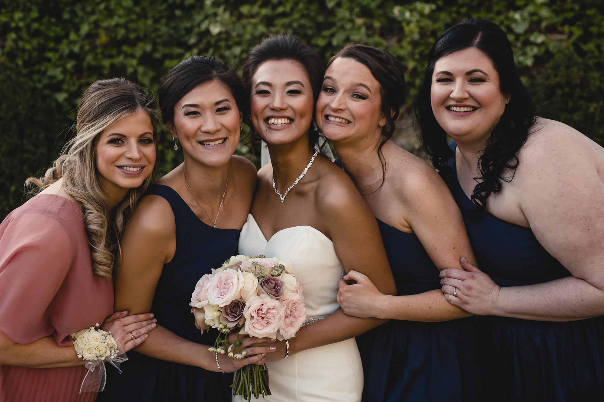 bride and her bridesmaids wedding portrait