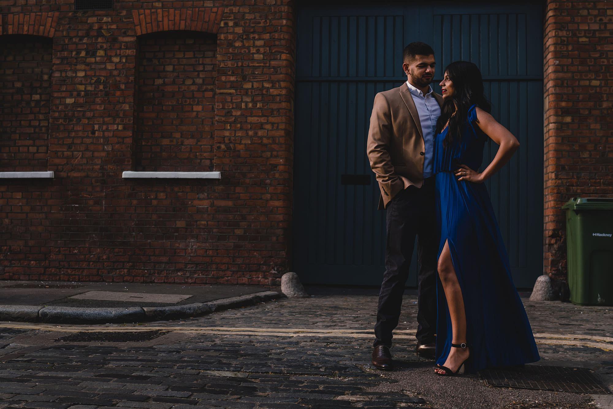 prewedding shoot central london posed portrait devan jigna