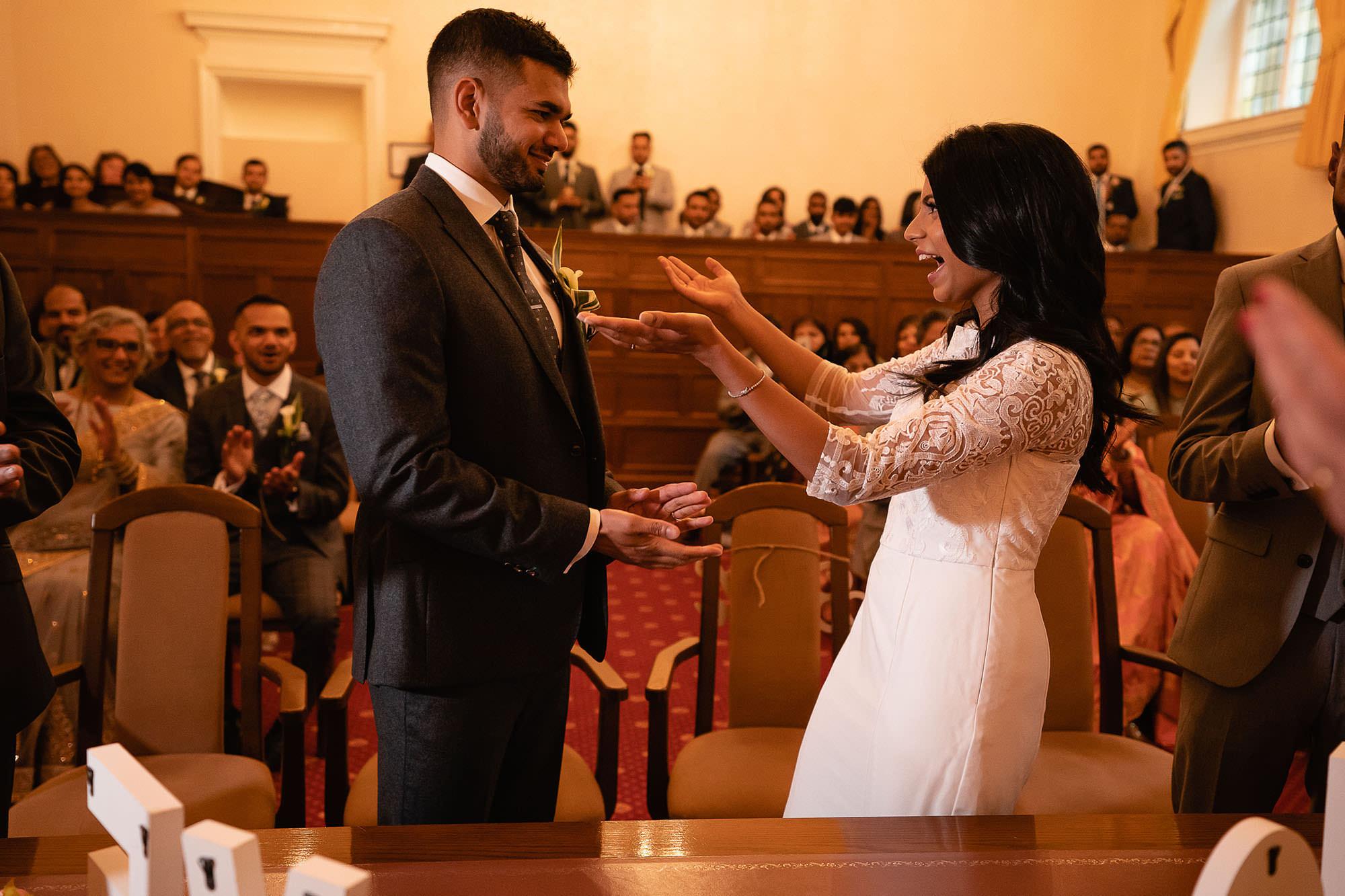 civil wedding leicester bride and groom devan jigna