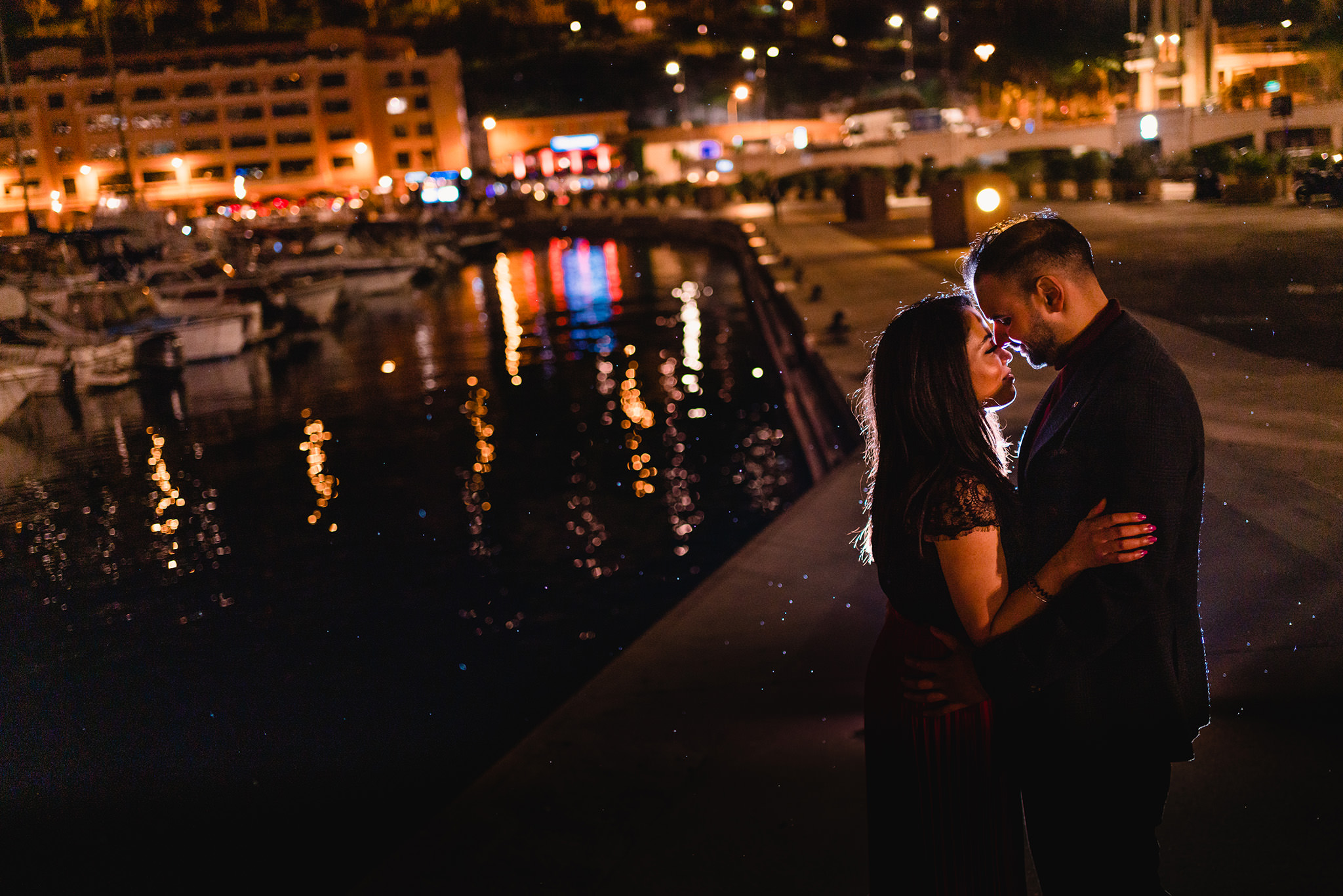 Monaco night time prewedding portraits