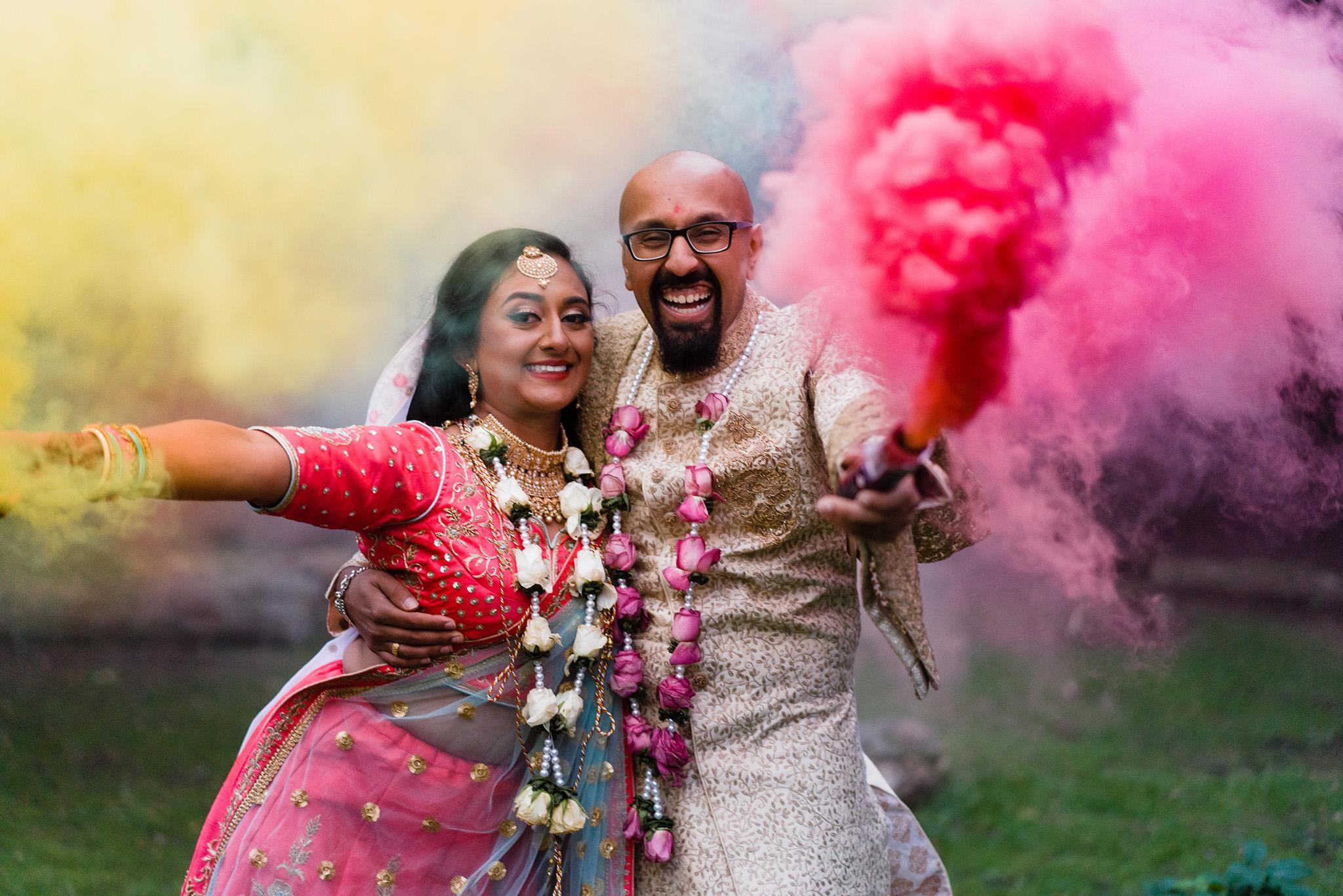 celebratory wedding photo